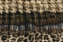 Úplet béžovo-hnedý, zvieracie vzor a káro, š.145
