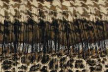 Úplet béžovo-hnědý, zvířecí vzor a káro, š.145