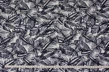 Bavlna bílá, tmavě modrý vzor, š.145