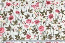 Dekoračná látka P0545 biela, kvetinový vzor, š.140