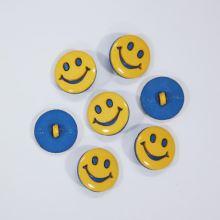 Knoflík žluto-modrý smajlík, průměr 18 mm