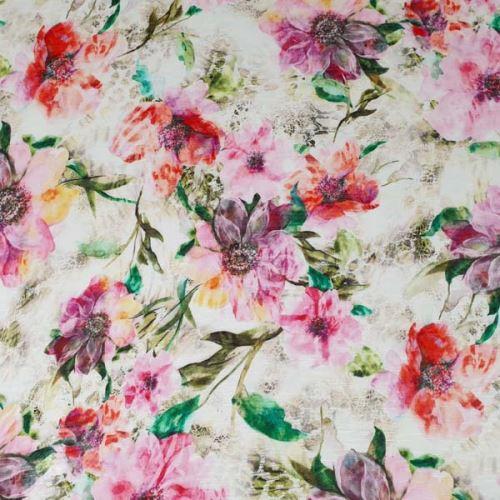 Úplet bílý, růžové a červené květy, š.160
