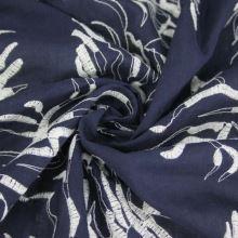 Košeľovina modrá, biela výšivka, š.145