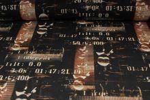 Elastický tyl černý, rezavý vzor s čísly, š.145