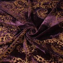 Samet fialový, okrový vzor s flitry, š.135