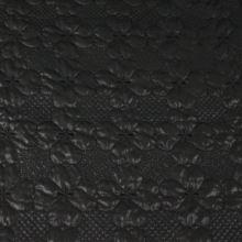 Prešiv čierny, výšivka kvet, š.140