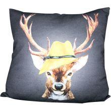 Povlak na polštář šedý, jelen ve žlutém klobouku, 45x45 cm