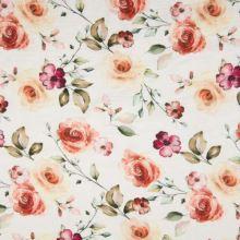 Mušelín, dvojitá gázovina biela, kvetinový vzor a listy, š.135