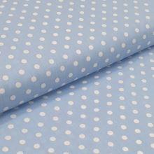Bavlněné plátno světle modré, bílé puntíky, š.140