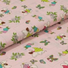 Bavlněné plátno světle růžové, kouzelné víly, š.140