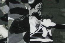 Úplet khaki 16756, černobílý květ š.150