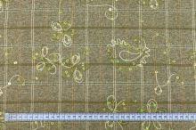 Kostýmovka N0052 béžovozelená, káro, výšivka, flitry š.145