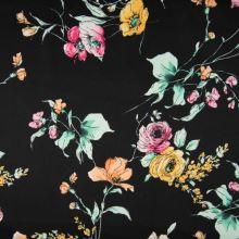 Bavlna černá, květinový vzor, š.145