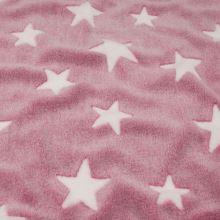 Fleece ružový, biele hviezdy, š.145