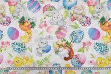 Dekoračná látka biela, veľkonočný motív, zajačiky, kuriatka, kraslice, š.140