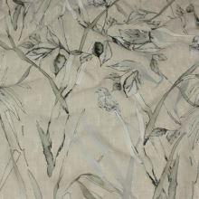 Šifon šedobéžový, ptáci a listy, š.140