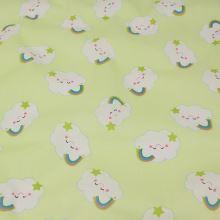 Bavlněné plátno zelené, obláčky, š.140