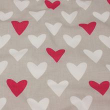 Bavlna šedá, ružová a biela srdce, š.160