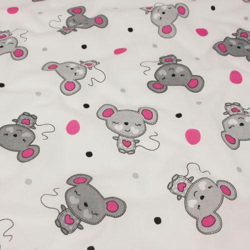 Bavlna bílá, šedorůžové myši, š.160