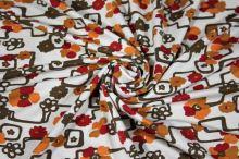 Úplet biely, červeno-oranžové kvety, š.145