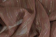 Hedvábný šifon světle hnědý s lurexem, š.130