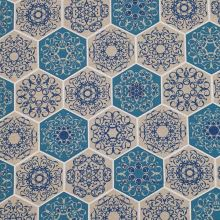 Dekoračná látka režná, modré šesťuholníky, š.140