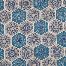 Dekorační látka režná, modré šestiúhelníky, š.140