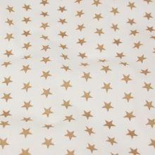Bavlnené plátno biele, hnedé hviezdičky, š.140