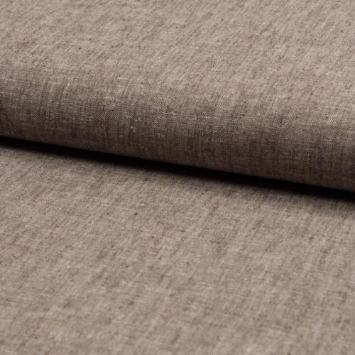 Ľanová kostýmovka, hnedá melange, š.140