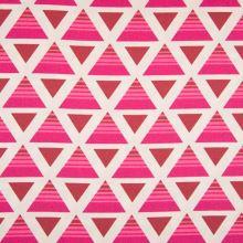 Dekorační materiál, růžové trojúhelníky, š.150