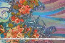 Šifon N5494 duhový, květinová bordura, š.150