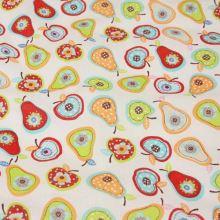 Bavlněné plátno bílé, barevné jablíčka a hrušky, š.140