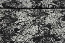 Plisé černé, šedo-bílý květinový vzor, š.150