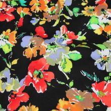 Bavlna černá, barevný květ, š.145