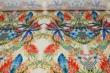 Úplet smetanový, barevné listy a květy š.145