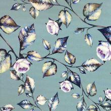 Šatovka SILKY šedozelená, lila ruže, š.145
