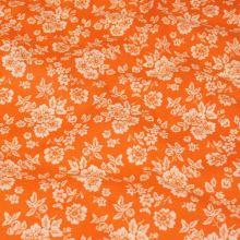 Bavlna oranžová BW659, bílý květ, š.140