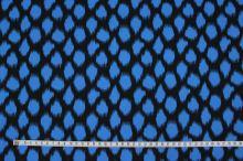 Bavlna čierna, modrý vzor, š.145