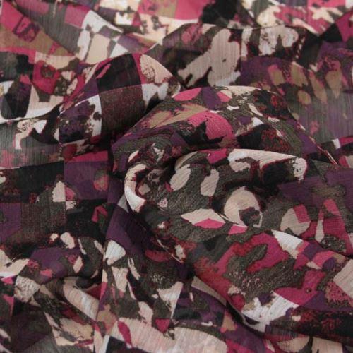 Šifon bordó, barevný vzor, š.150
