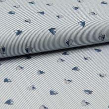 Bavlněné plátno, modro-bílý pruh, plachetnice, š.140