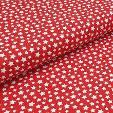Bavlněné plátno červené, bílé hvězdičky, š.140
