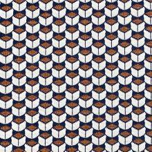 Úplet 20358 krémovo-modro-škoricový geometrický vzor, š.170
