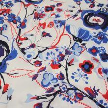 Šatovka biela, červeno-modrý vzor, š.145