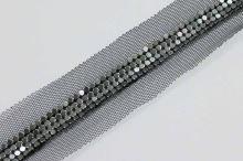 Borta černá tylová s kovovou aplikací