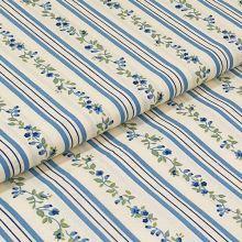 Bavlněné plátno, modré pruhy, drobný květinový vzor, š.140