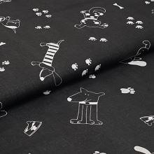 Plátno čierne, biele ťapky a psíci, š.160