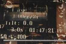 Elastický tyl čierny, hrdzavý vzor s číslami, š.145