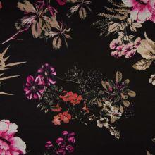 Úplet PUNTO PRINT černý, barevné květy, 240g/m, š.150