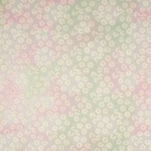 Vyšívaný tyl ružovo-zelený, š.120