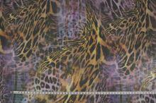 Šifón fialový, zvierací vzor š.145